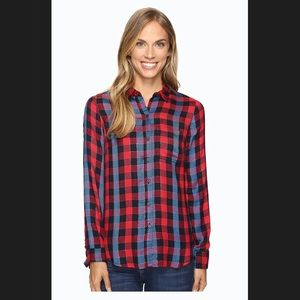 Lucky Brand Back Overlay Shirt Red Small